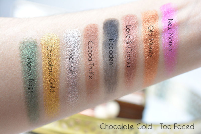 swatch chocolate gold too faced